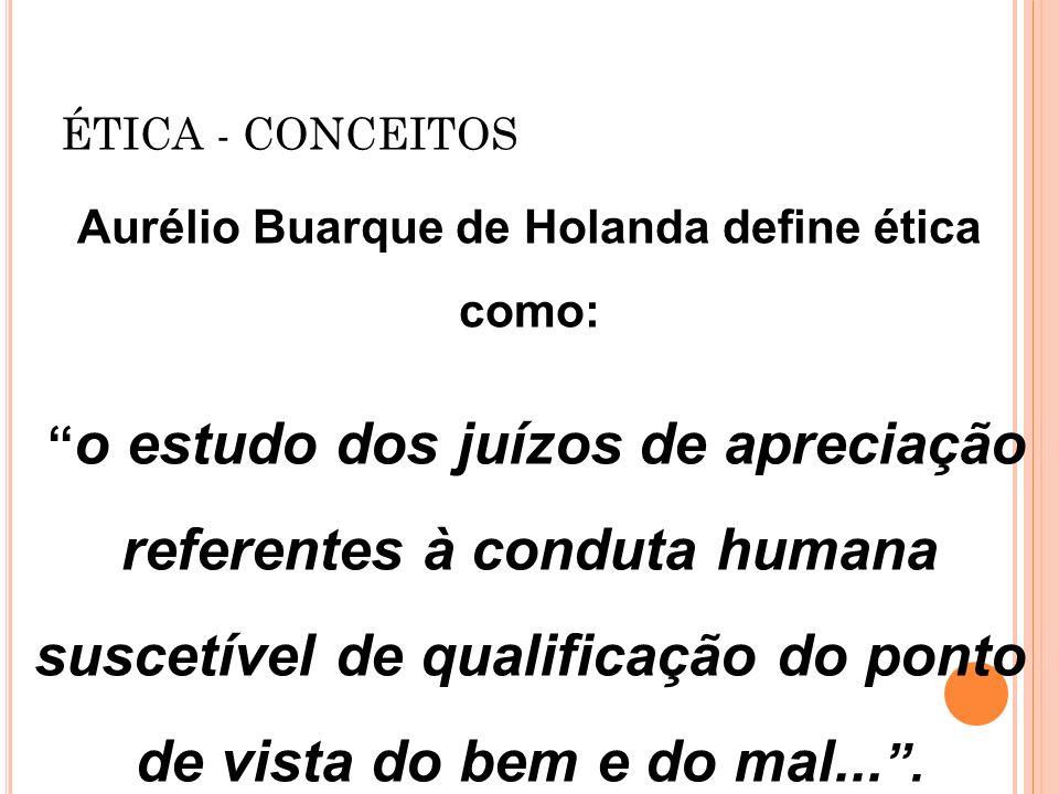 Aurélio Buarque de Holanda define ética como: