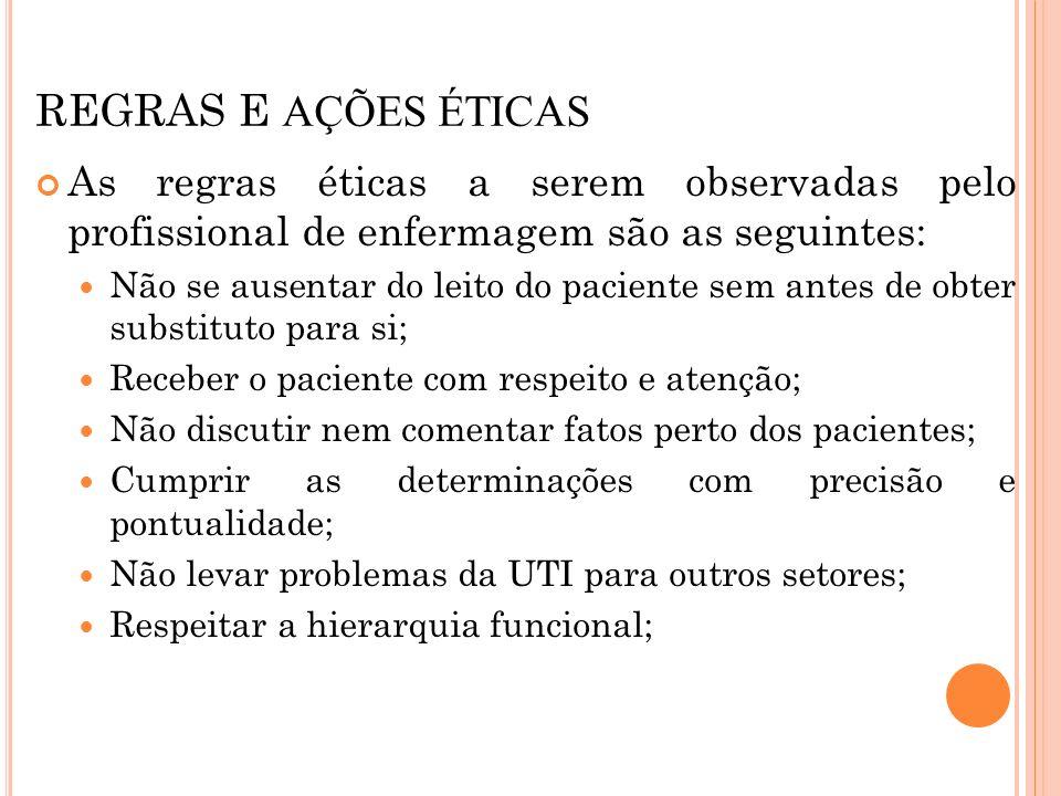 REGRAS E AÇÕES ÉTICASAs regras éticas a serem observadas pelo profissional de enfermagem são as seguintes: