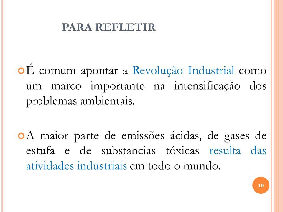 PARA REFLETIRÉ comum apontar a Revolução Industrial como um marco importante na intensificação dos problemas ambientais.