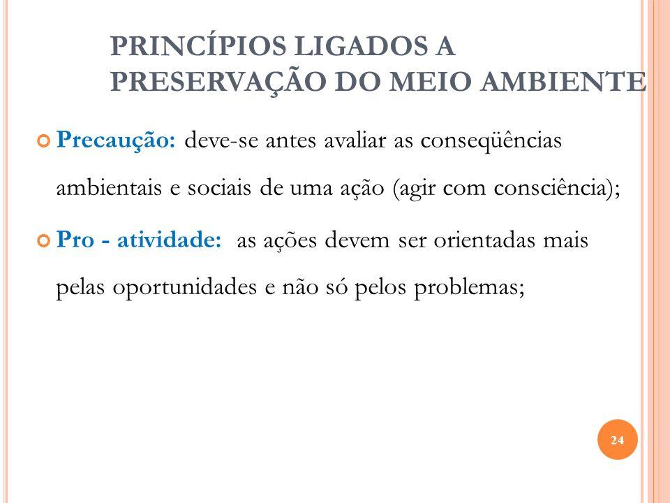 PRINCÍPIOS LIGADOS A PRESERVAÇÃO DO MEIO AMBIENTE
