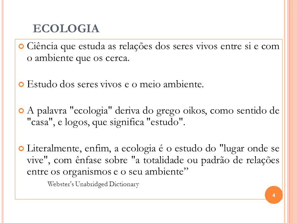 ECOLOGIACiência que estuda as relações dos seres vivos entre si e com o ambiente que os cerca. Estudo dos seres vivos e o meio ambiente.