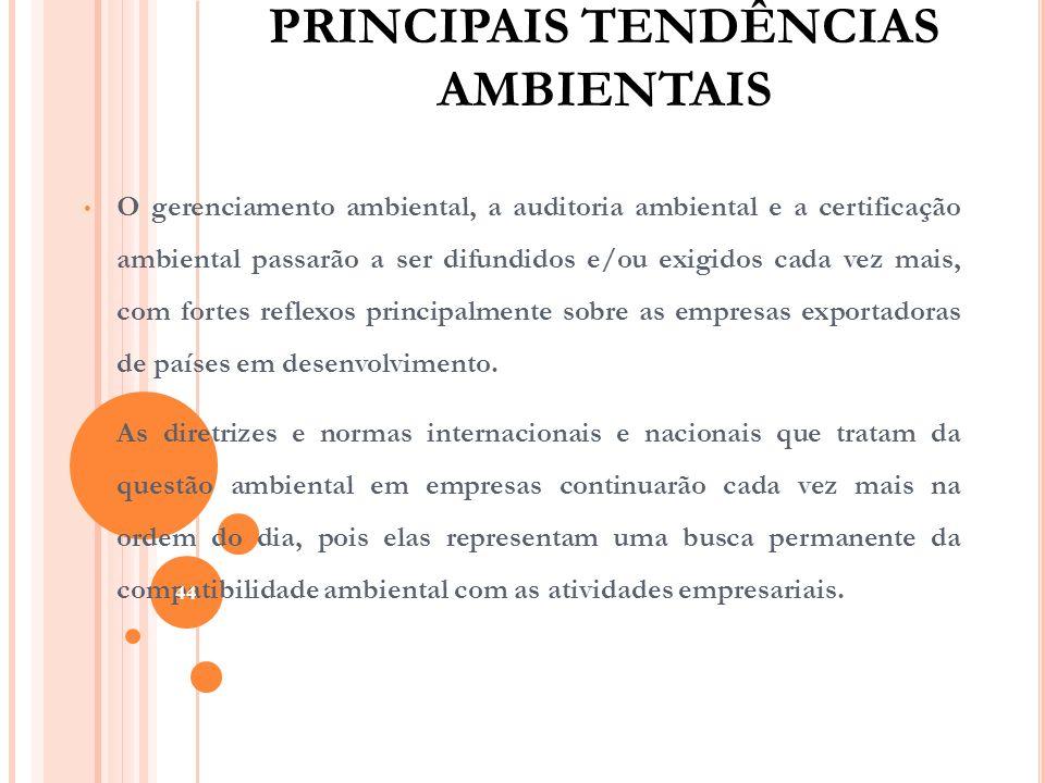 PRINCIPAIS TENDÊNCIAS AMBIENTAIS