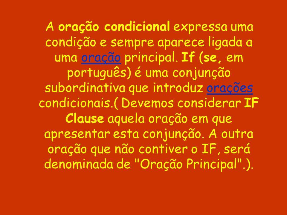 A oração condicional expressa uma condição e sempre aparece ligada a uma oração principal.