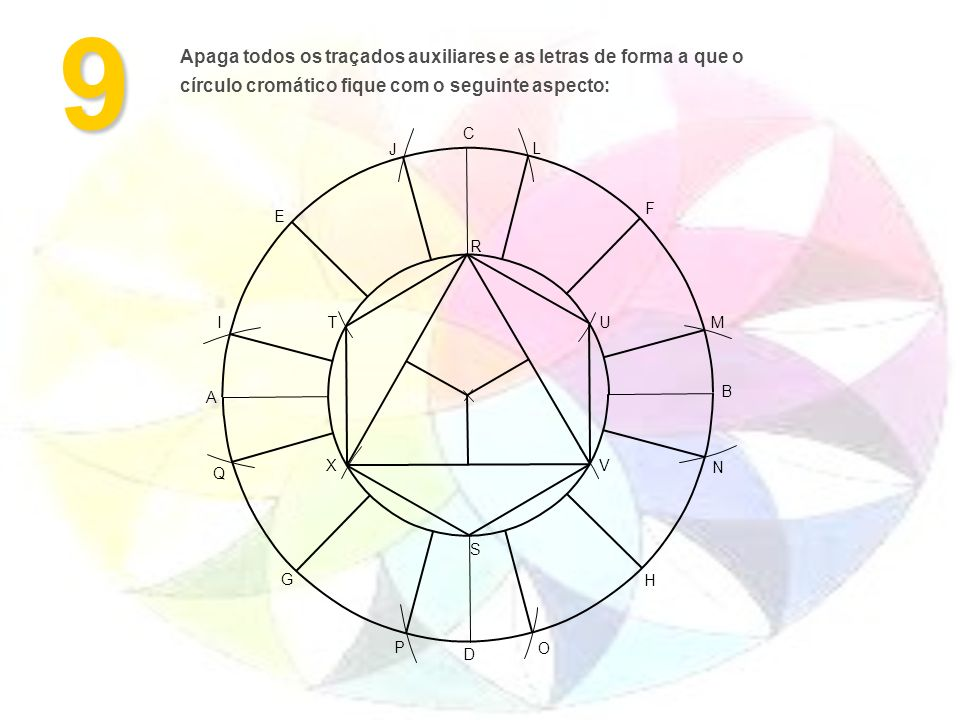 9 Apaga todos os traçados auxiliares e as letras de forma a que o círculo cromático fique com o seguinte aspecto: