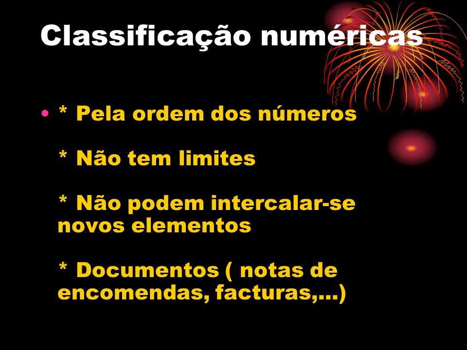 Classificação numéricas