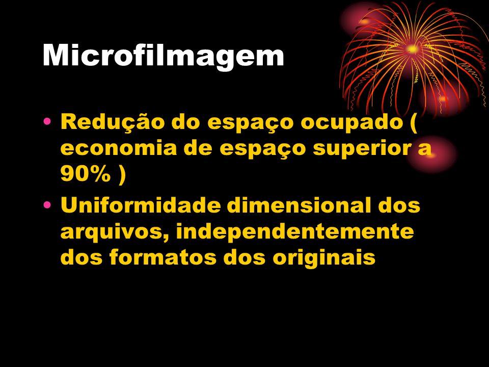 MicrofilmagemRedução do espaço ocupado ( economia de espaço superior a 90% )