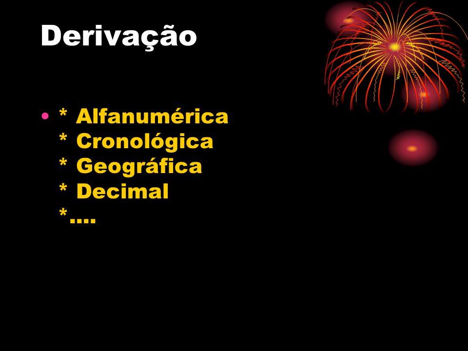 Derivação * Alfanumérica * Cronológica * Geográfica * Decimal *....