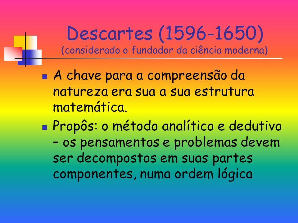 Descartes (1596-1650) (considerado o fundador da ciência moderna)