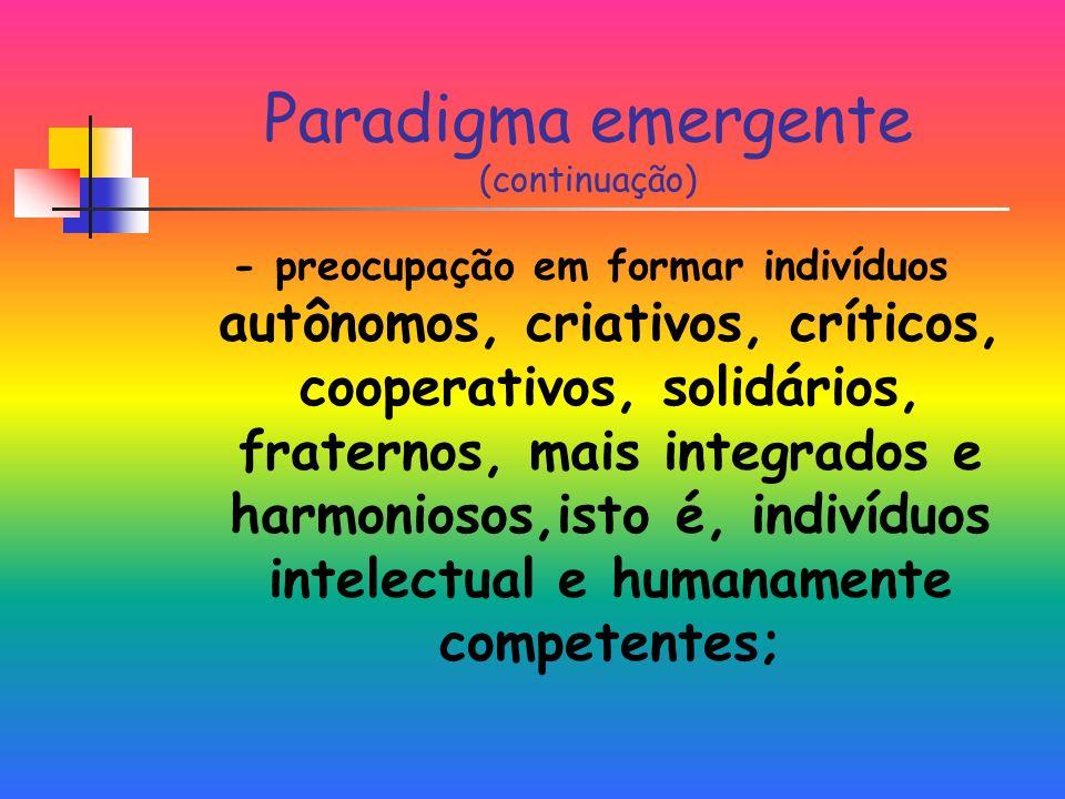 Paradigma emergente (continuação)