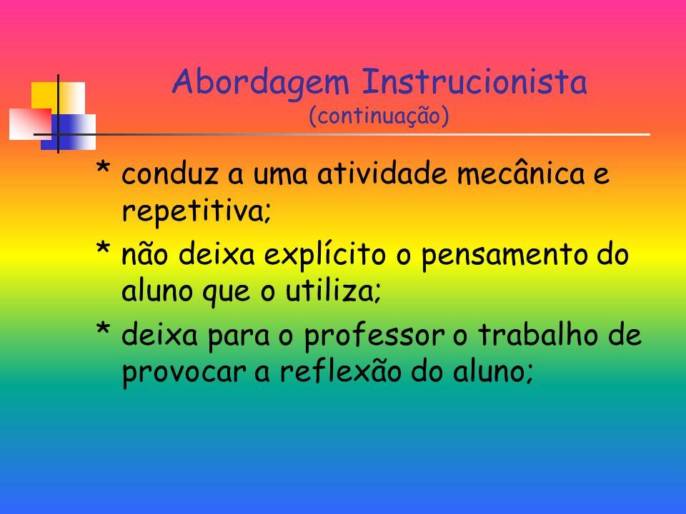 Abordagem Instrucionista (continuação)