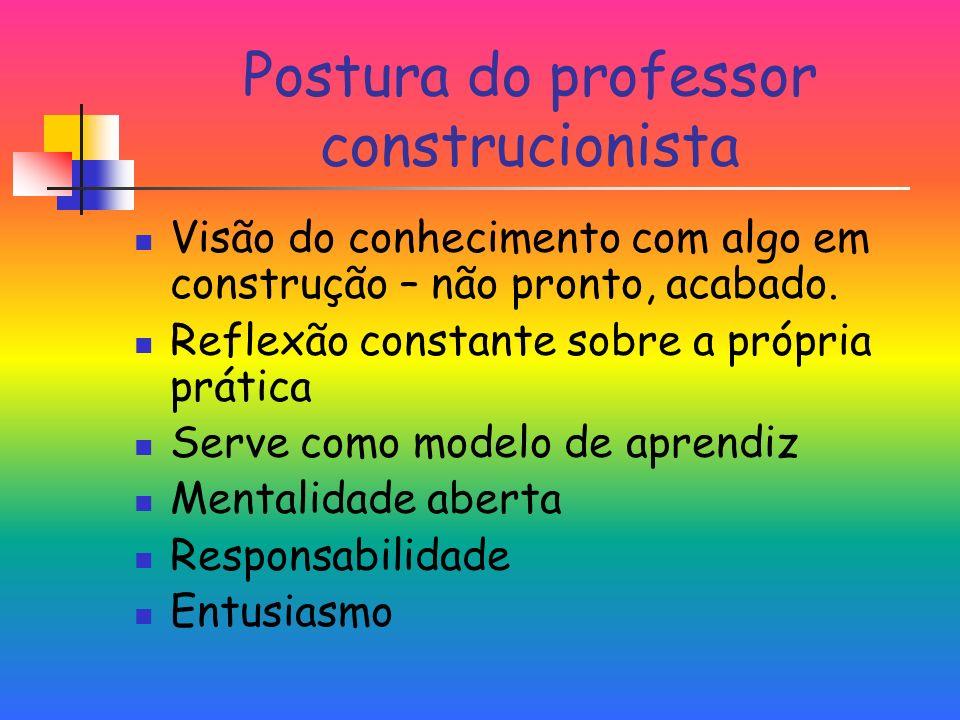 Postura do professor construcionista