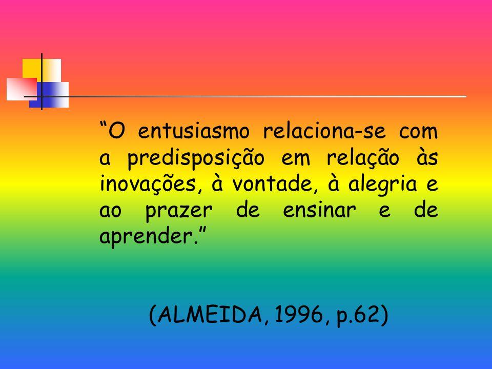 O entusiasmo relaciona-se com a predisposição em relação às inovações, à vontade, à alegria e ao prazer de ensinar e de aprender.