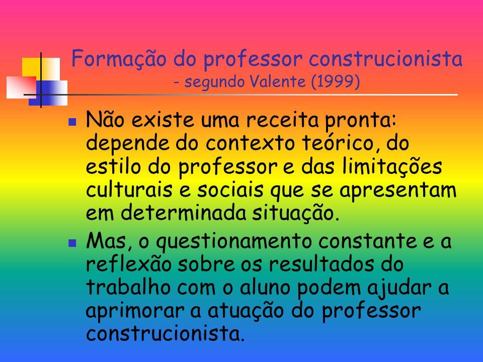 Formação do professor construcionista - segundo Valente (1999)
