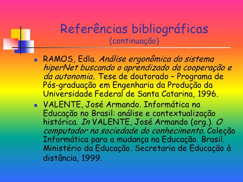 Referências bibliográficas (continuação)