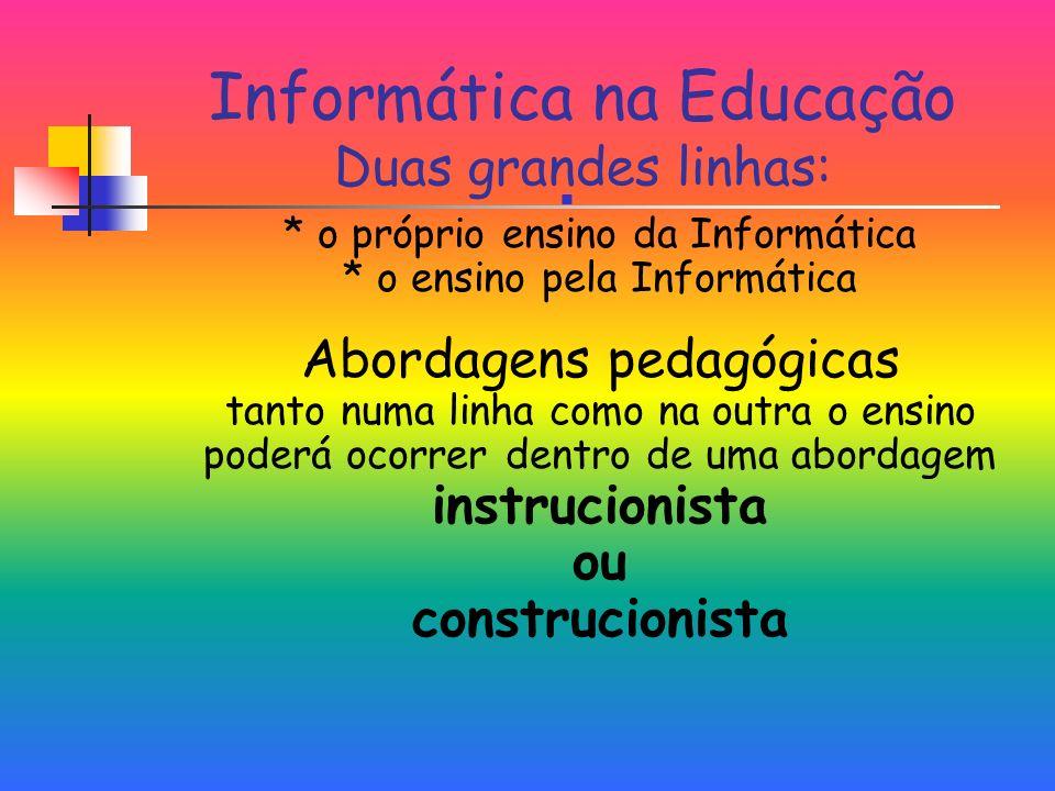 Informática na Educação Duas grandes linhas: