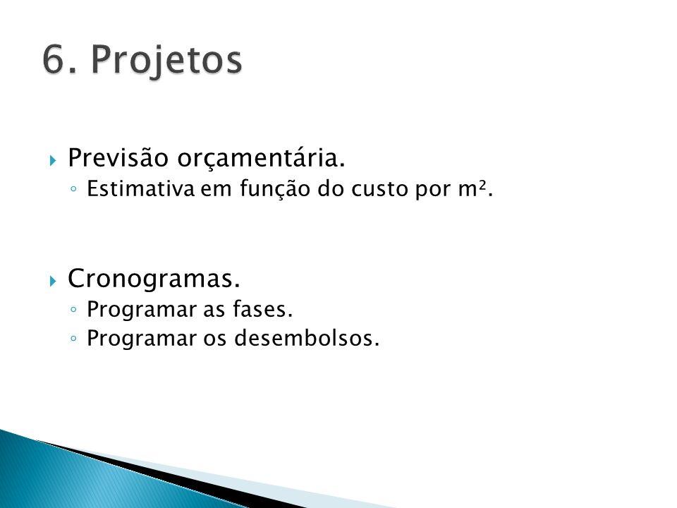 6. Projetos Previsão orçamentária. Cronogramas.