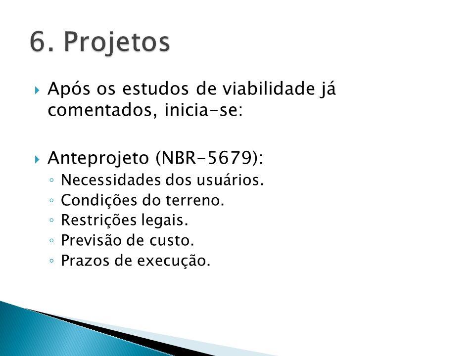 6. Projetos Após os estudos de viabilidade já comentados, inicia-se: