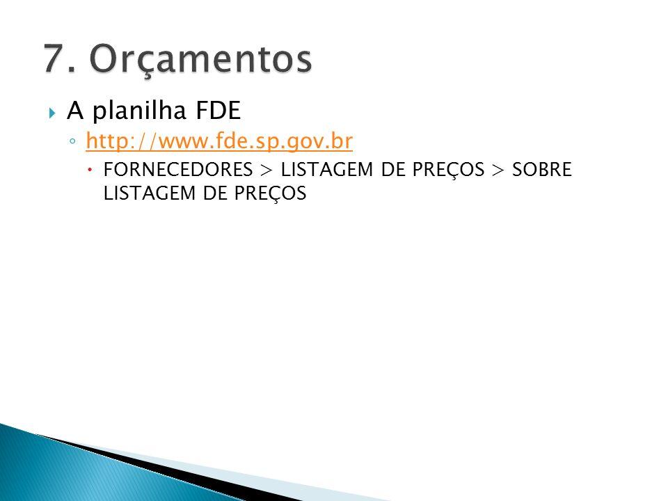 7. Orçamentos A planilha FDE http://www.fde.sp.gov.br