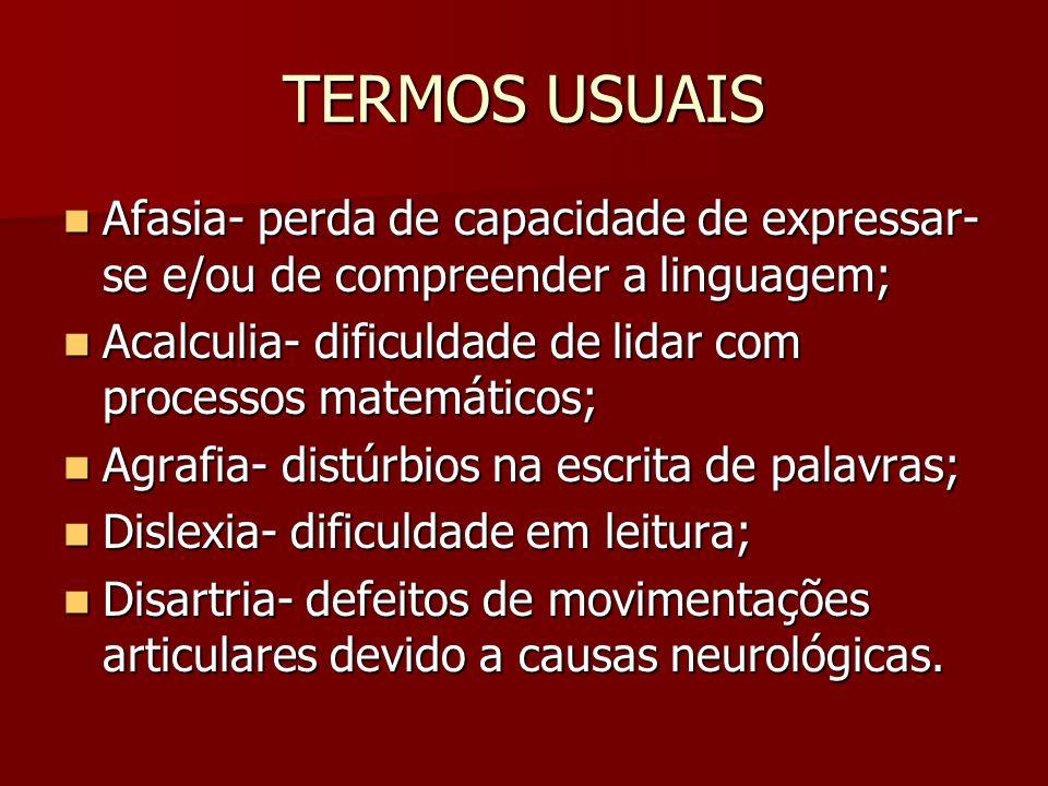 TERMOS USUAISAfasia- perda de capacidade de expressar-se e/ou de compreender a linguagem; Acalculia- dificuldade de lidar com processos matemáticos;