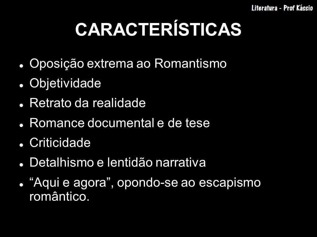 CARACTERÍSTICAS Oposição extrema ao Romantismo Objetividade