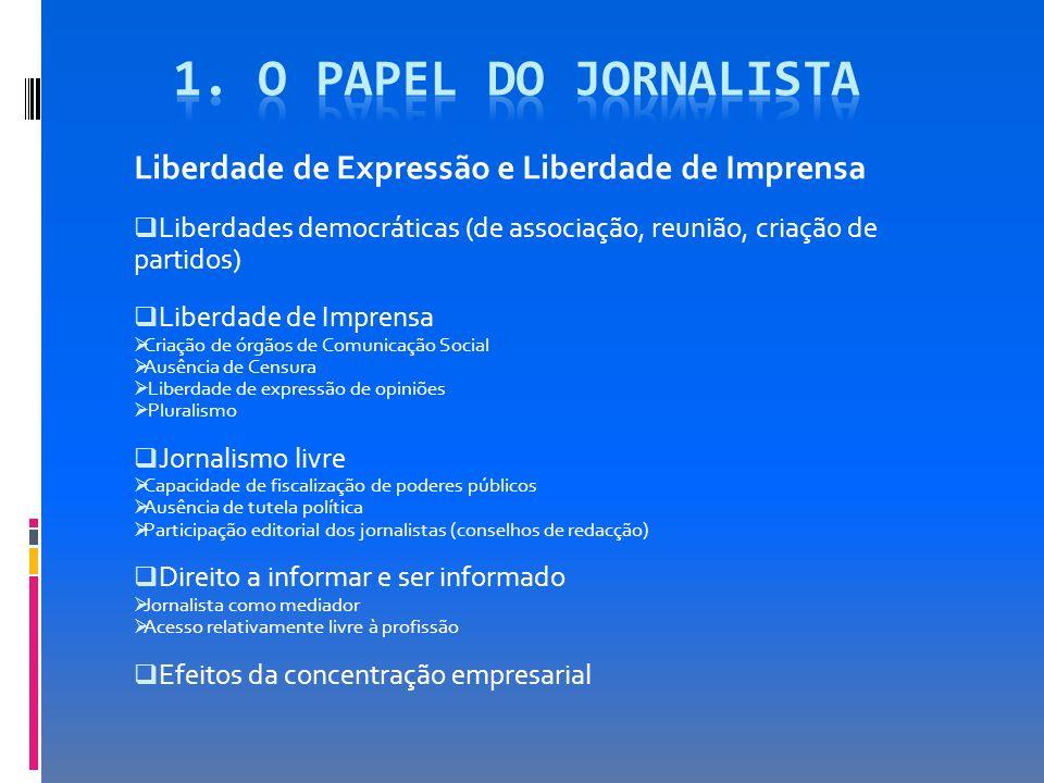 1. O papel do jornalista Liberdade de Expressão e Liberdade de Imprensa. Liberdades democráticas (de associação, reunião, criação de partidos)