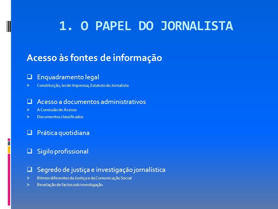 1. O PAPEL DO JORNALISTA Acesso às fontes de informação