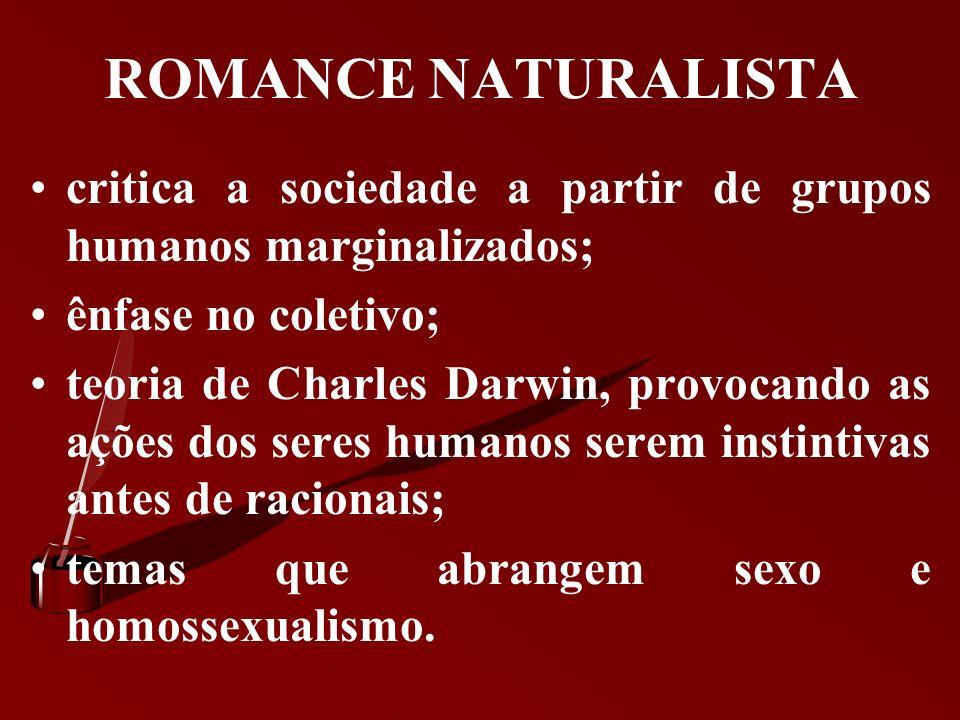 ROMANCE NATURALISTA critica a sociedade a partir de grupos humanos marginalizados; ênfase no coletivo;