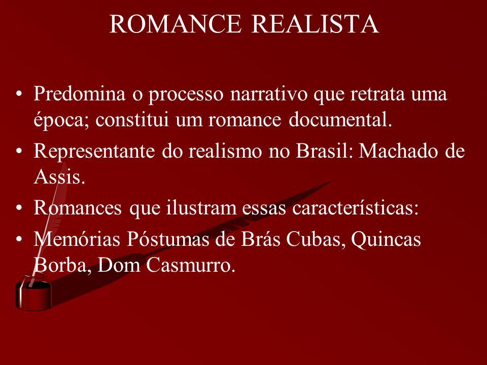 ROMANCE REALISTA Predomina o processo narrativo que retrata uma época; constitui um romance documental.