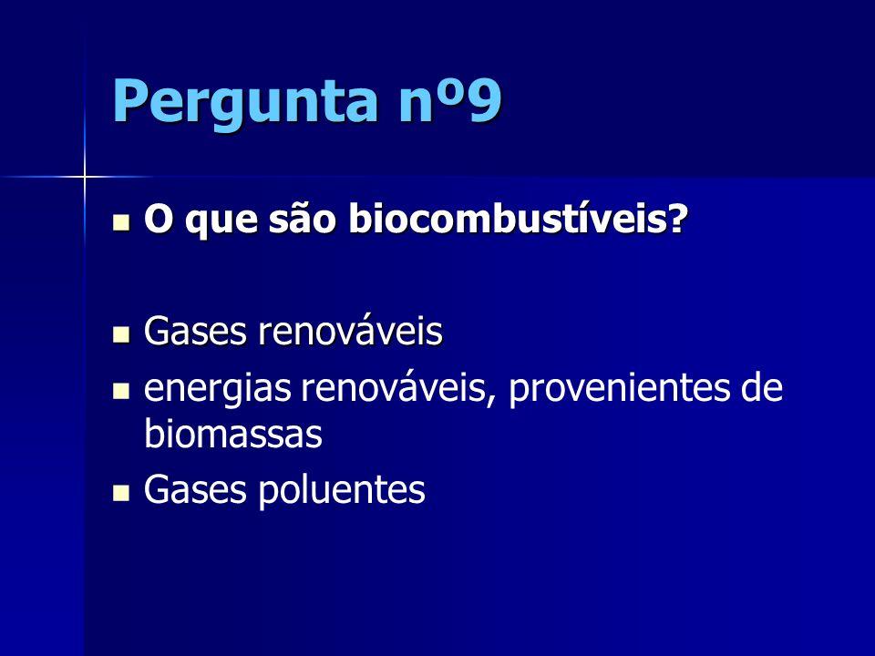 Pergunta nº9 O que são biocombustíveis Gases renováveis