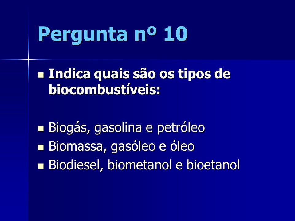 Pergunta nº 10 Indica quais são os tipos de biocombustíveis: