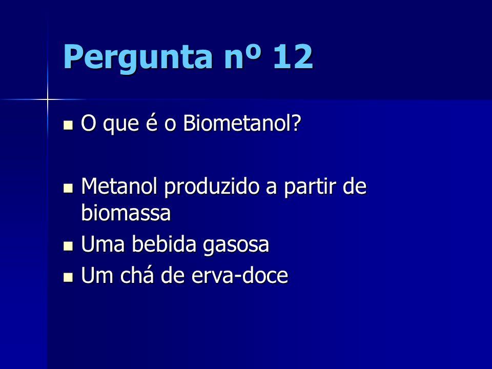 Pergunta nº 12 O que é o Biometanol