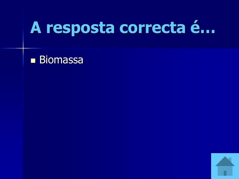 A resposta correcta é… Biomassa