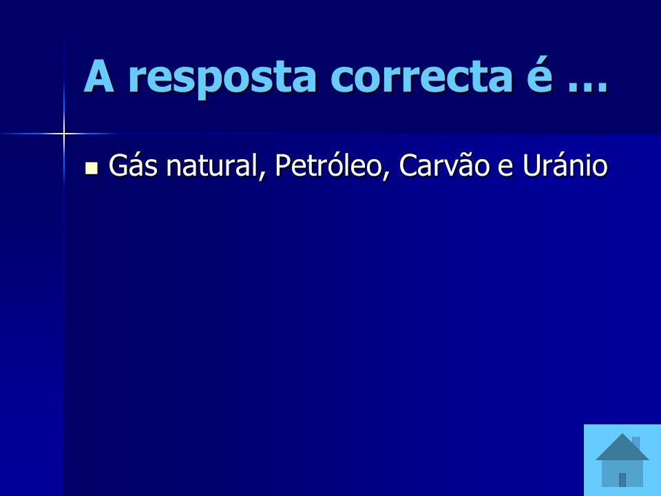 A resposta correcta é … Gás natural, Petróleo, Carvão e Uránio