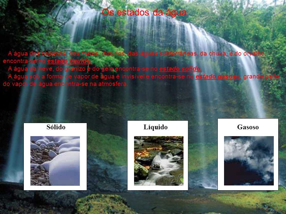 Os estados da água Sólido Líquido Gasoso
