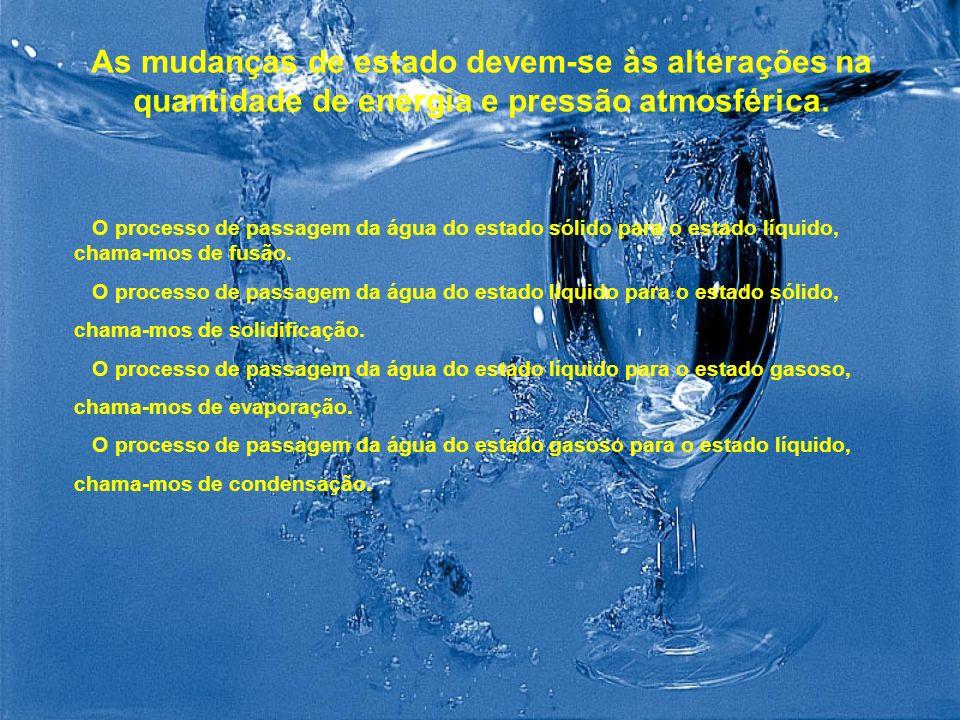 As mudanças de estado devem-se às alterações na quantidade de energia e pressão atmosférica.