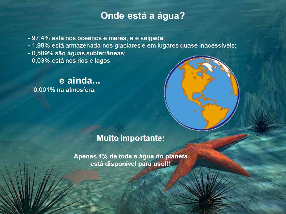 Apenas 1% de toda a água do planeta está disponível para uso!!!