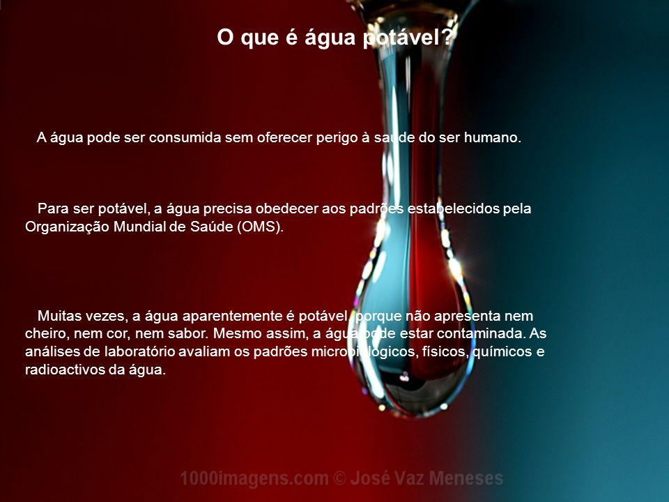 O que é água potável A água pode ser consumida sem oferecer perigo à saúde do ser humano.
