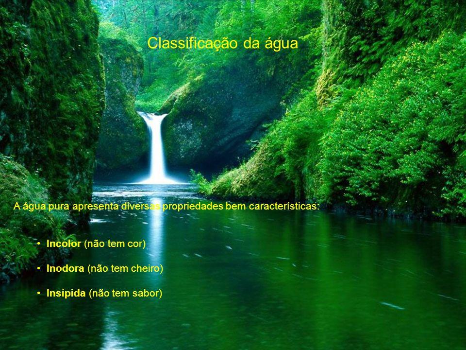 Classificação da água A água pura apresenta diversas propriedades bem características: Incolor (não tem cor)