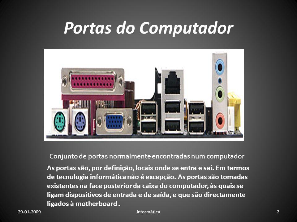 Portas do Computador Conjunto de portas normalmente encontradas num computador.