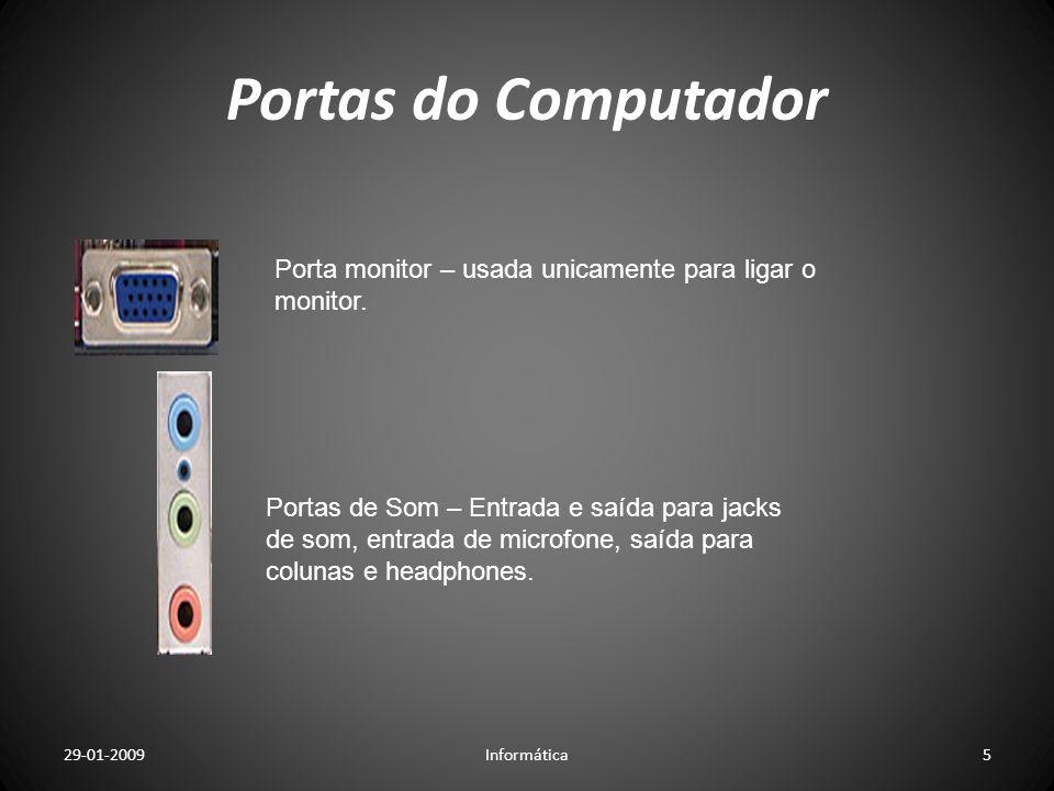 Portas do ComputadorPorta monitor – usada unicamente para ligar o monitor.