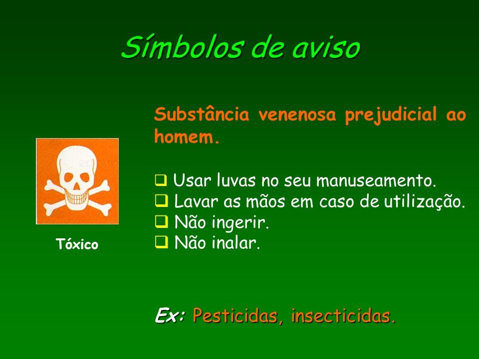 Símbolos de aviso Substância venenosa prejudicial ao homem.