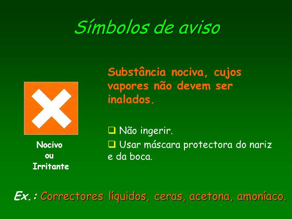 Símbolos de aviso Substância nociva, cujos vapores não devem ser inalados. Não ingerir. Usar máscara protectora do nariz e da boca.
