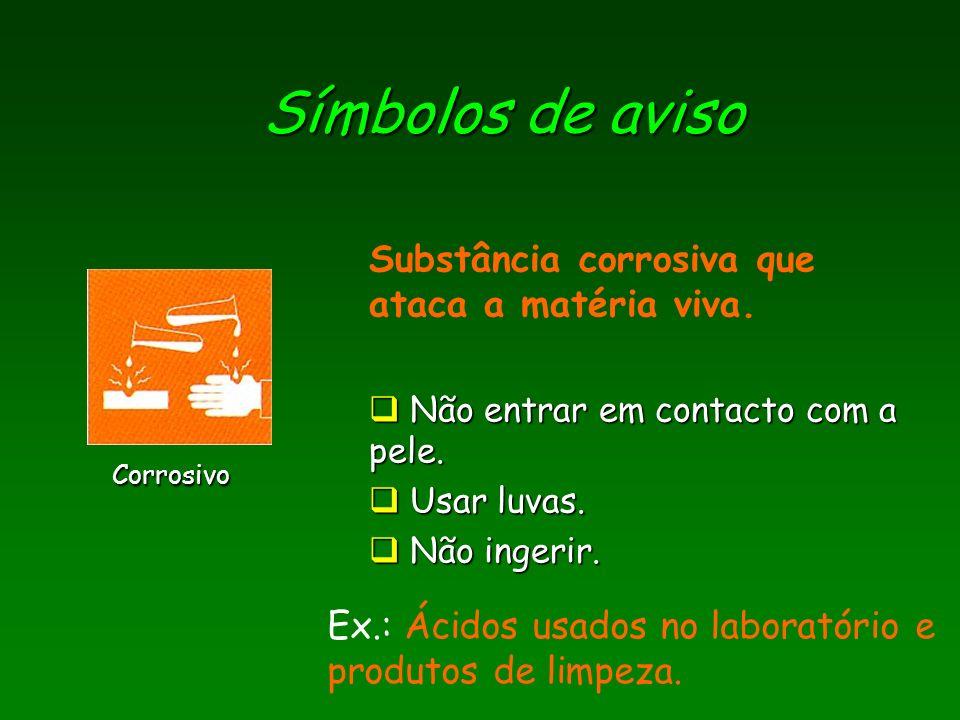 Símbolos de aviso Substância corrosiva que ataca a matéria viva.