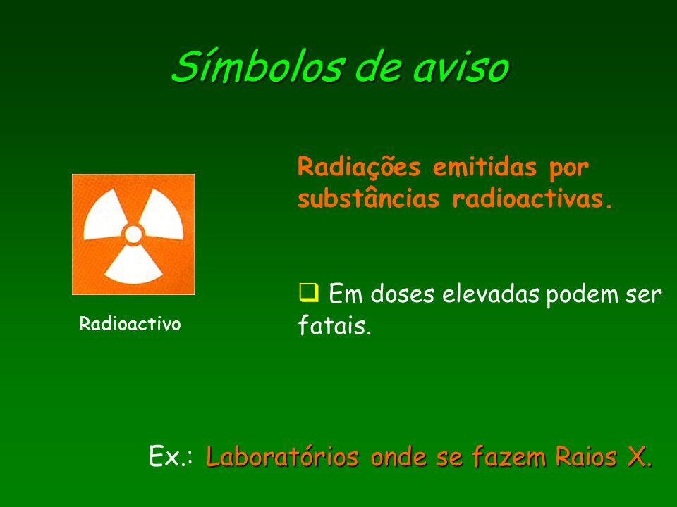 Símbolos de aviso Radiações emitidas por substâncias radioactivas.