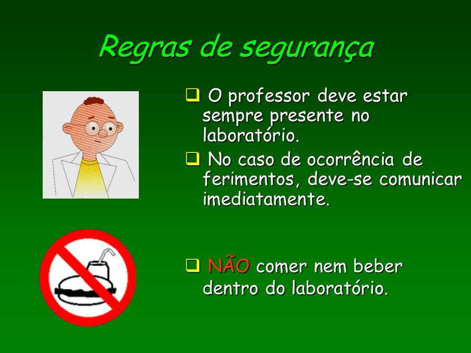 Regras de segurança O professor deve estar sempre presente no laboratório. No caso de ocorrência de ferimentos, deve-se comunicar imediatamente.
