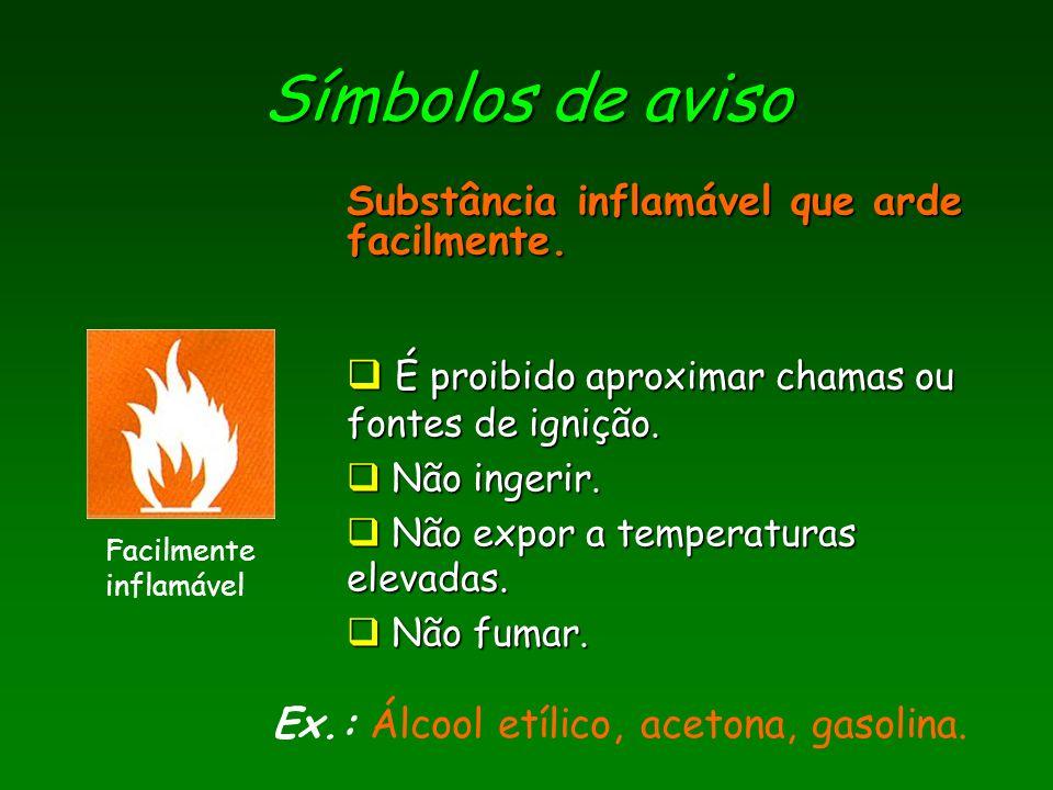 Símbolos de aviso Substância inflamável que arde facilmente.