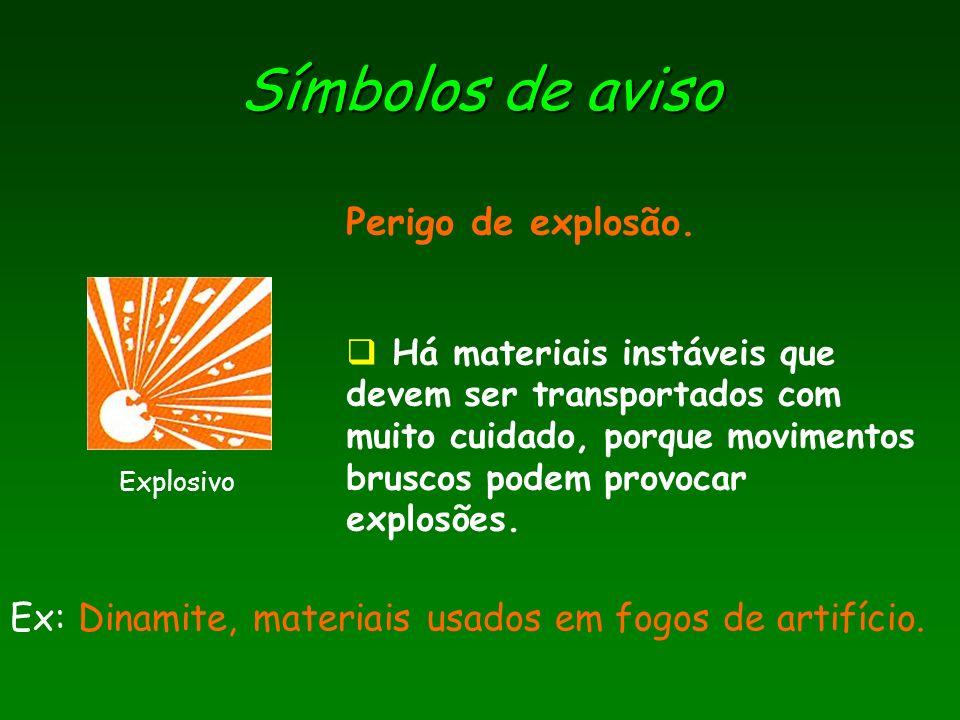 Símbolos de aviso Perigo de explosão.