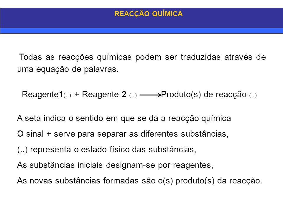 Reagente1(..) + Reagente 2 (..) Produto(s) de reacção (..)