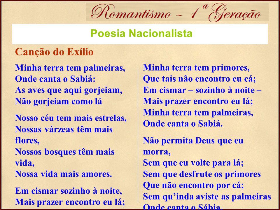 Romantismo – 1ª Geração Poesia Nacionalista Canção do Exílio