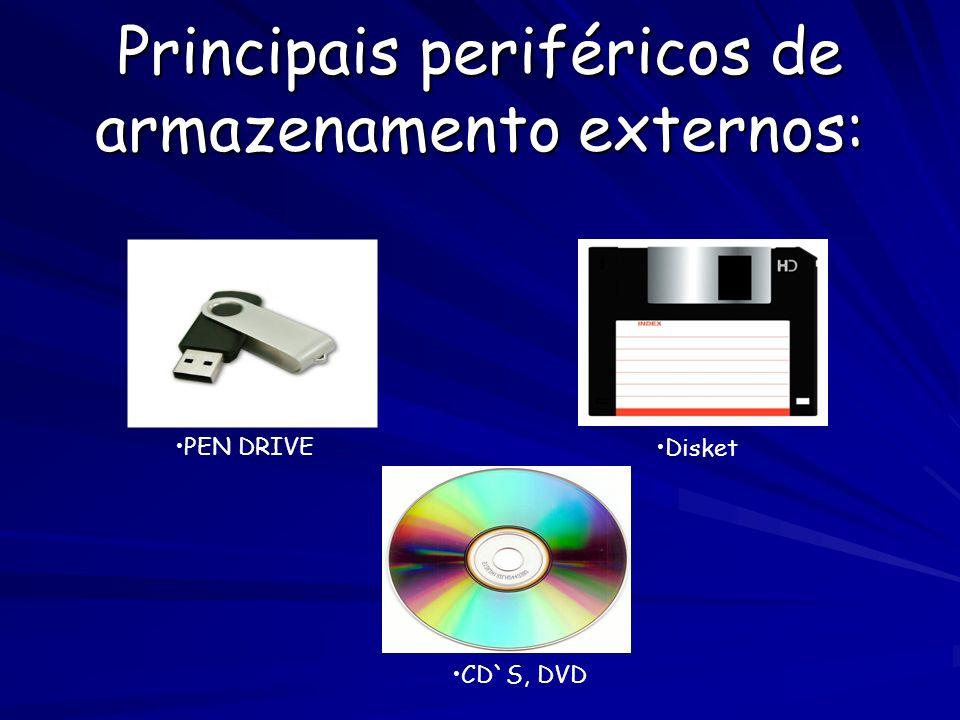 Principais periféricos de armazenamento externos: